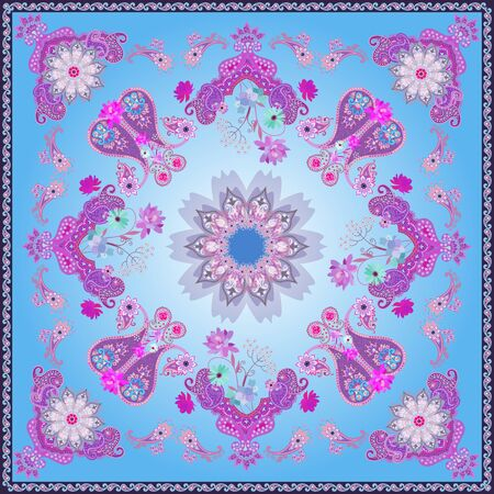 Bandana print in fantasy indian style with mandala and paisley on blue background. Stock fotó