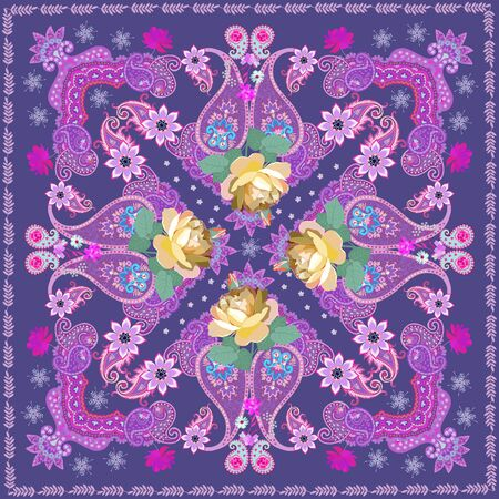 Silk scarf in ethnic style with yellow rose flowers and paisley on  purple background. Indian, russian motifs.