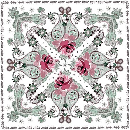 Silk scarf in ethnic style with red rose flowers and paisley on white background. Indian, russian motifs. Watercolor imitation.