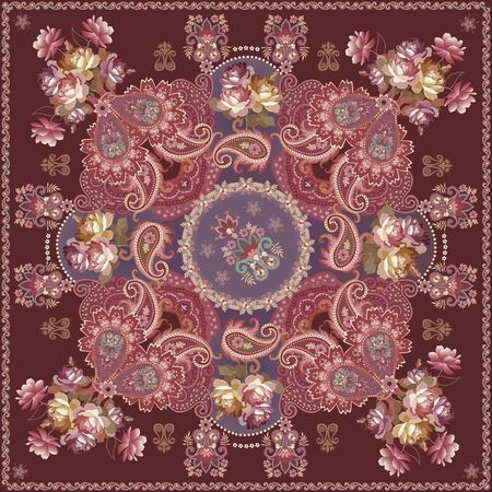 Luxury shawl in russian style with paisley ornament and bouqoets of flowers on brown background. Stock fotó