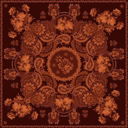Wood marquetry imitation. Bouquets of roses and paisley ornament. Inlay art.  Decorative floor tile.