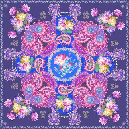 Fantasy shawl with luxury paisley ornament and bunches of roses on blue background. Indian, persian, russian motifs. Stock fotó