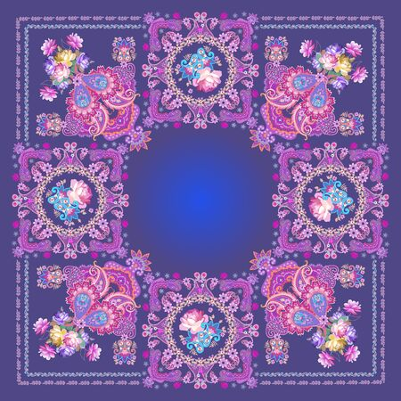 Shawl with paisley and flowers in ethnic style. Bunch of roses and cosmos flowers, floral garlands and luxury decorative ornament on dark blue background. Indian, russian motifs.