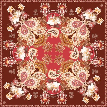 Fluffy carpet imitation with a luxurious paisley ornament and bouquets of roses. Funny shawl, napkin. Stock fotó