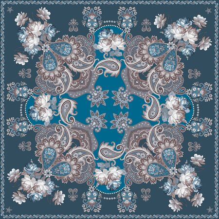 Luxurious shawl with bouquets of roses and paisley ornament on blue background. Indian, russian motifs. Ethnic style. Sepia color. Stock fotó
