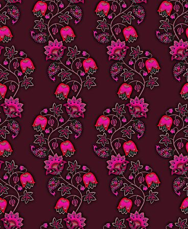 Seamless ethnic pattern with fantasy flowers, leaves, paisley and berries on dark purple background. Vertical garlands. Print for fabric, wrapping design. Indian, russian, persian motifs.