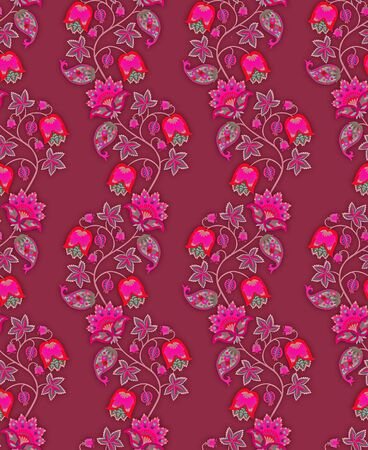 Seamless pattern in ethnic style with vertical garlands of fantasy flowers, leaves and berries on bright purple background. Indian, russian motifs. Print for fabric.