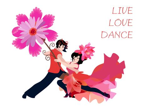 Sexy caucasian couple dancing tango, salsa or samba with huge fantasy flower isolated on white background. Motivator Live, Love, Dance. Иллюстрация