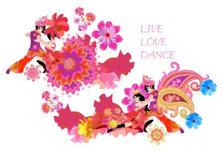 Two dancing couple decorated flowers and paisley, isolated on white background. Beautiful concert poster. International Dance Day. Text Live, Love, Dance. Synthesis of West and East.