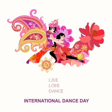 Concert poster for Intarnational Dance Day with young dancing couple in dright costumes isolated on white background. Иллюстрация