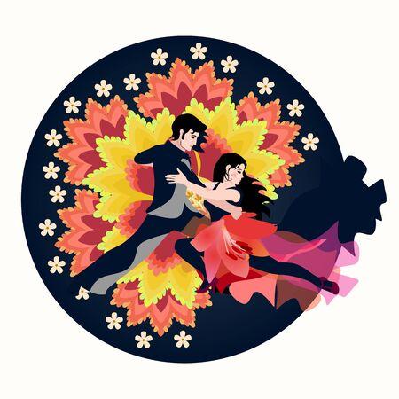 Sexy Latino couple dancing tango, salsa or samba against huge fantasy flowers jn dark blue round. Beautiful emblem. International Dance Day. Иллюстрация