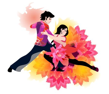 Young elegant couple dancing tango. Watercolor style. Beautiful poster.