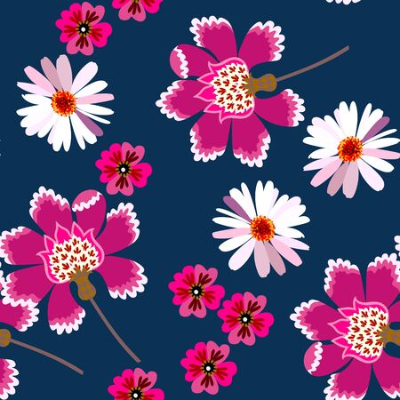 Seamless floral pattern with chamomile  and fantasy flowers on dark blue background. Fashionable print for fabric in retro style.