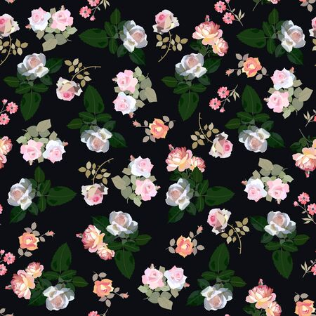 Seamless pattern with summer rose flowers and leaves isolated on black background. Beautiful print for fabric. Design elements.