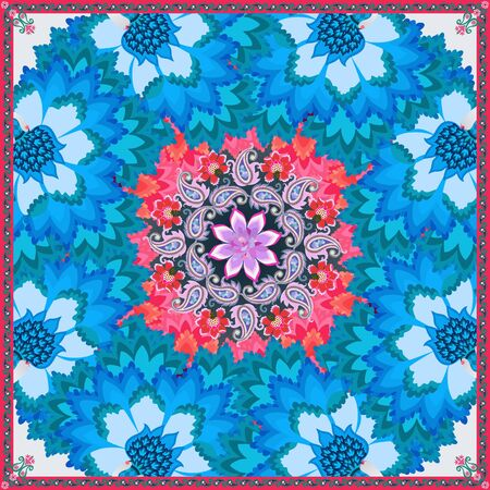 Beautiful doily, tablecloth or silk scarf with blue fantastic flowers and wreath of paisley, symbolizing frost ornament on winter window, and christmas cactus flower.