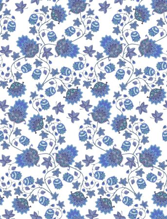 Seamless pattern with fantasy blue flowers, berries, leaves and paisley on white background. Vintage style. Ethnic motifs. Print for fabric, tapestry, wrapping design.