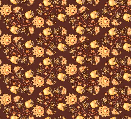Seamless fantasy pattern with flowers, leaves, berries and paisley on dark brown background. Ethnic style. Print for fabric. Russian motif. Фото со стока