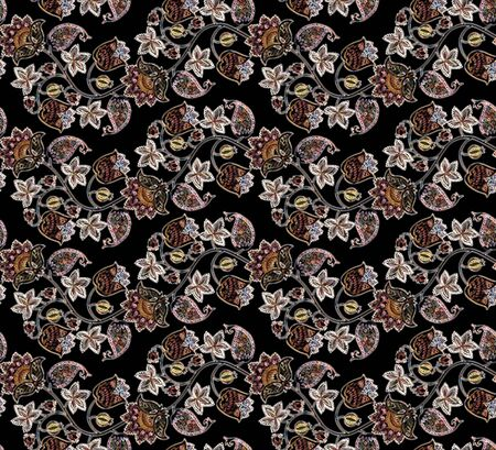 .Seamless fantasy pattern with flowers, leaves, berries and paisley on black backdrop. Ethnic style. Print for fabric. Russian, indian motif. Blur effect.  Sequins background. Фото со стока