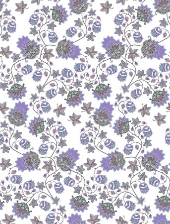 Seamless watercolor imitation pattern with fantasy flowers , berries, leaves and paisley on white background. Vintage style. Ethnic motifs. Print for fabric, tapestry, wrapping design.. Фото со стока