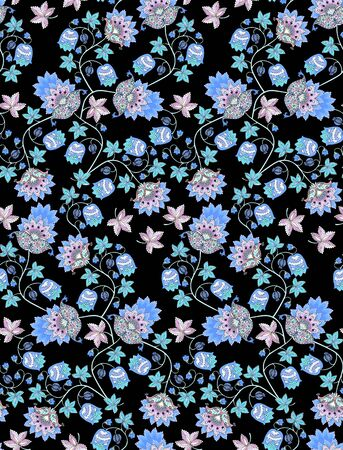 Beautiful seamless pattern with fantasy flowers , berries, leaves and paisley on black background. Vintage style. Ethnic motifs. Print for fabric, tapestry, wrapping design.