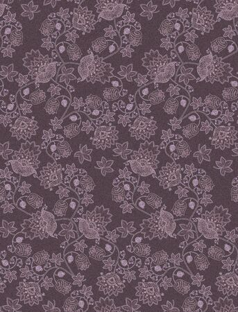 Vintage seamless pattern with fantasy flowers , berries, leaves and paisley on cacao color background. Vintage style. Ethnic motifs. Print for fabric, tapestry, wrapping design.