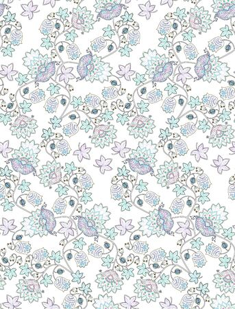 Seamless pattern with fantasy flowers , berries, leaves and paisley on white background. Vintage style. Ethnic motifs. Print for fabric, wrapping design. Embroidery imitation.