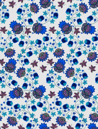 Seamless pattern with blue fantasy flowers, berries, leaves and paisley on grey background. Vintage style. Ethnic motifs. Print for fabric, tapestry, wrapping design. Watercolor imitation. Фото со стока