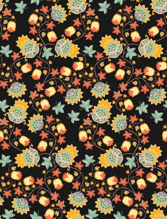 Autumn seamless pattern with fantasy flowers , berries, leaves and paisley on black background. Vintage style. Ethnic motifs. Print for fabric, tapestry, wrapping design.