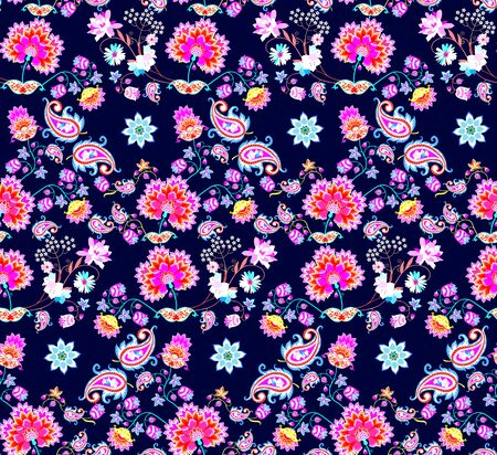 Bright seamless floral ornament with bouquets of fantasy flowers, mandala and paisley on dark blue background. Motley print for fabric. Indian, mexican motifs.