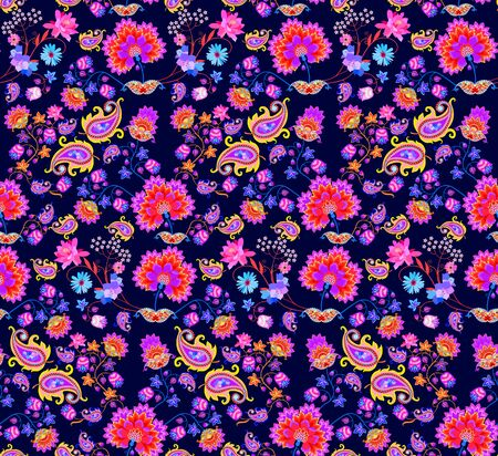 Bright seamless pattern with cacti and bell flowers, bouquets of abstract flowers in ethnic style and paisley on dark blue background. Mexican, indian motifs. Print for fabric. Фото со стока