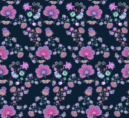 Elegant seamless ornament with decorative flowers and paisley on dark background. Indian, russian, damask motifs. Luxury print for fabric, wallpaper. Фото со стока