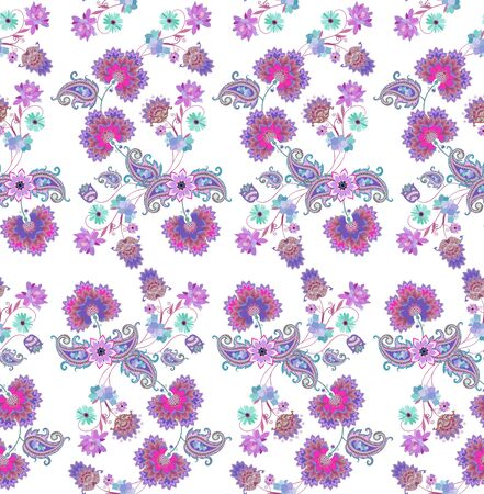 Elegant floral ornament with fantasy knapweed, cacti flowers and leaves in shape of paisley on white background. Ethnic style. Indian, russian, damask motifs. Print for fabric. Фото со стока