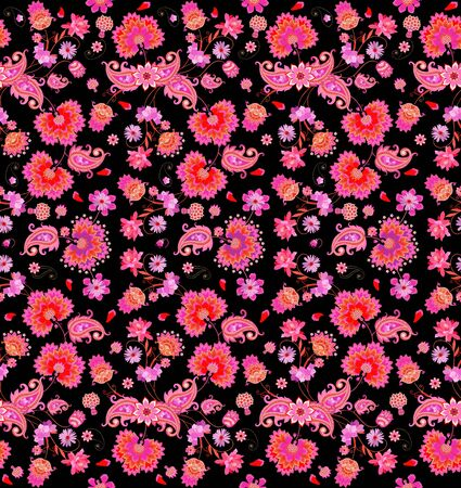 Seamless natural motley pattern with paisley ornament and bouquets of pink fantasy flowers isolated on black background. Print for fabric, wrapping design.