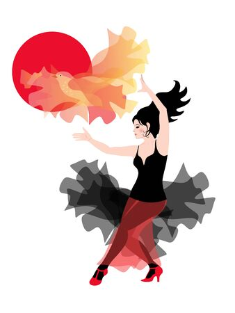 Beautiful Spanish girl dancing flamenco with a manton, like a flying bird in the background of the red sun. Фото со стока - 132096695
