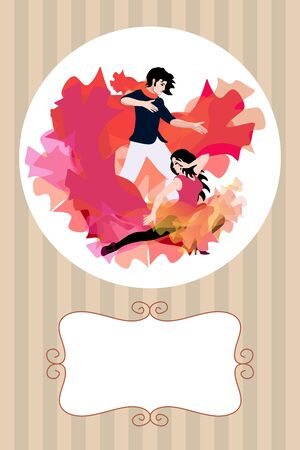 Invitation card with young couple dancing argentine tango. The hem of the girl dress at the same time looks like flames and a flying bird. Space for text. Иллюстрация