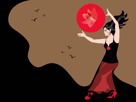 Chica bailando con el sol. Bailaora vestida con un traje negro y rojo, cuyo dobladillo se convierte en montañas sobre el fondo de un cielo dorado con pájaros volando. Hermosa tarjeta, cartel.