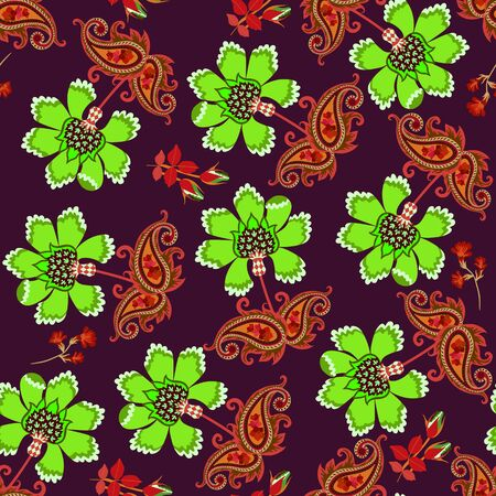 Seamless pattern with beautiful fantasy flowers in folkloric style. Print for fabric. Иллюстрация