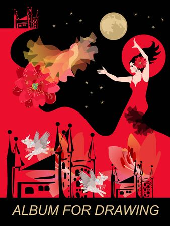Flamenco dancer girl dressed in long red dress,sun, moon, flying fire bird, silhouette of buildings, funny winged unicorns. Fantastic cover for album for drawing. Fairytale.
