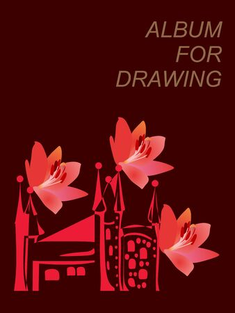 Sketchbook, cover for album for drawing with stylized castle and lily flowers in watercolor style. Beautiful architectures . Spanish motif. Çizim