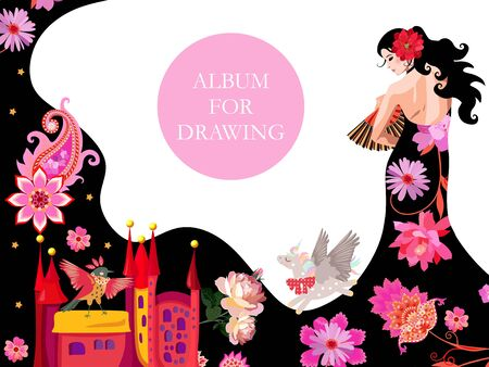 Cover for a drawing album with a beautiful fairy dressed in a black dress, the hem of which turns into a mountain landscape, populated by fabulous creatures. Иллюстрация