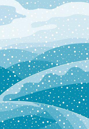 Paisaje montañoso de invierno con nieve que cae. Tarjeta de Navidad con nevadas. Ilustración de vector