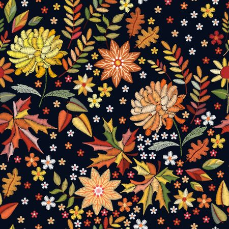 Embroidered seamless pattern on autumn theme. Trendy print with cute embroidery of flowers and leaves.