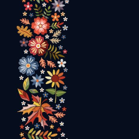 Embroidered design. Vertical seamless line with beautiful flowers and leaves in autumn colors. Template for greeting and invitations cards with place for text.