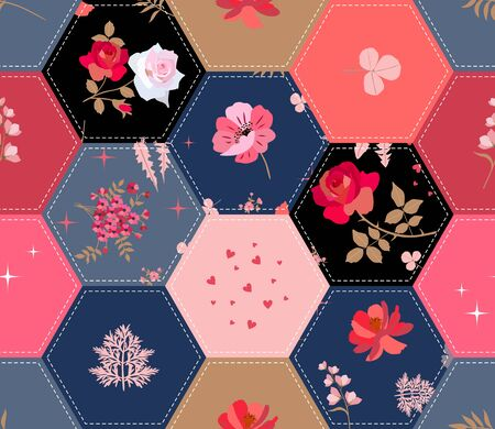 Floral patchwork pattern. Seamless quilt design from hexagonal patches with flowers. Print for fabric.