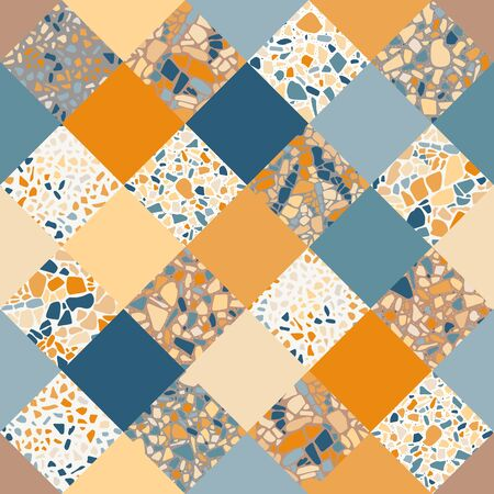 Terrazzo seamless pattern. Unique ornamental background. Patchwork design.