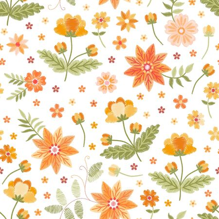 Embroidery seamless pattern with beautiful yellow and orange flowers on white background. Fashion design. Фото со стока - 132096714