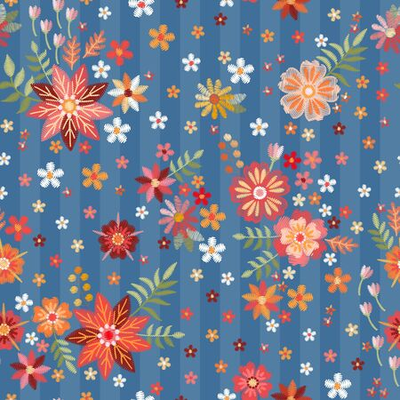 Embroidery seamless pattern with colorful summer flowers on blue striped background. Иллюстрация