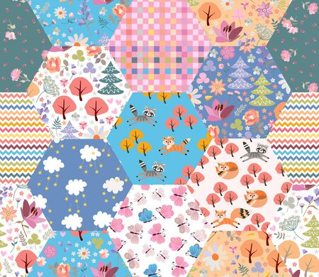 Colorful fairytale patchwork pattern with cute foxes and cats in magic forest with flowers and trees.