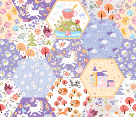 Fairytale seamless patchwork pattern with unicorns, cats and foxes, castle, flowers and trees in magic forest. Cute print for fabric and textile. Иллюстрация