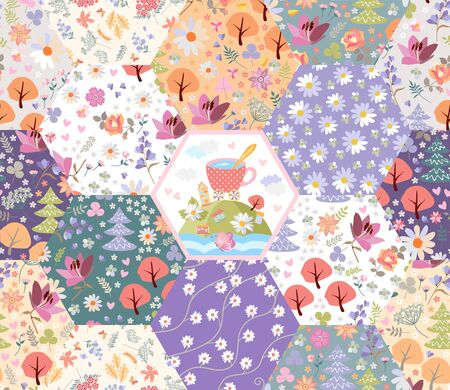 Fairytale patchwork pattern. Flowers, trees and magic town with cup on the hill. Seamless print for fabric.